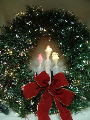 Christmas Fiber Optic Wreath With 3 Candel Lights Continuous Color Changing