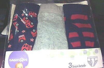 New Toddler Boys 3 Pack Underwear Briefs Size 4T 5T cars stripes 33-37 lbs.