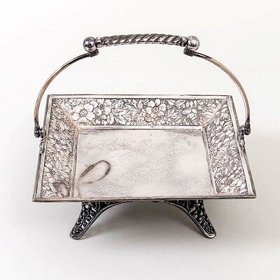 Antique Barbour Bros Silverplated Cake Basket Footed Server Tray Floral Repousse
