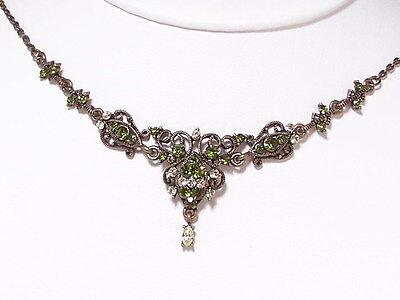 Green Vintage Style Pendant Necklace Earrings Set Peridot New Fashion Crystals