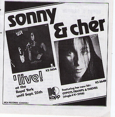 "1971 Sonny & Cher ""Live"" In Toronto at Royal York Vintage Concert Advertisement"