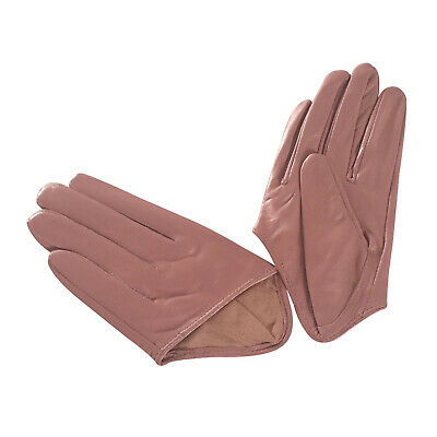 Ladies/Womens Leather Driving Gloves - Dusty Pink