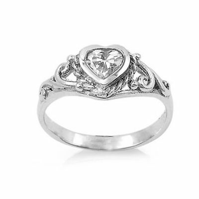 .925 Sterling Silver Ring CZ Kids Heart Baby Girls Ladies Midi Toe Size 2 New