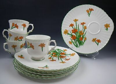 Lot of 4 Crown Staffordshire DEVON Snack Plate & Cup Sets (+ 2 Plates) EXCELLENT