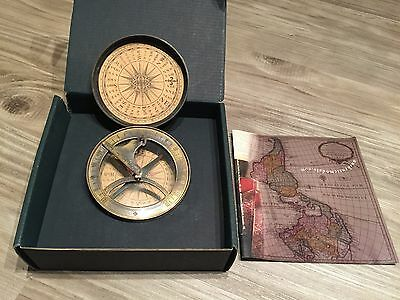Authentic Models Bronze 18th Century Sundial and Compass New