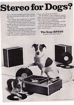 1968 Sony 'HP-550' Stereo For Dogs Vintage Print Advertisement
