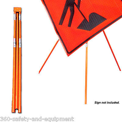 "Tripod Sign Stand HI-Vis Orange Will Fit 36"" And 48"" Roll up Work Signs"