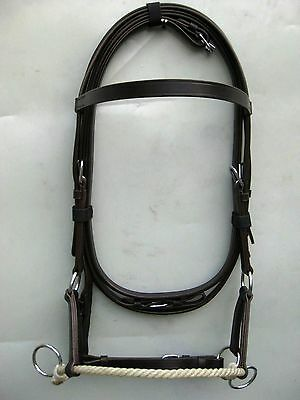 Beautifull Western Sidepull Bitless Leather & Rawhide Bridle brown full
