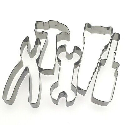 5 pcs Tool Hammer Saw Spanner Pliers Baking Fondant biscuit cookie cutter set