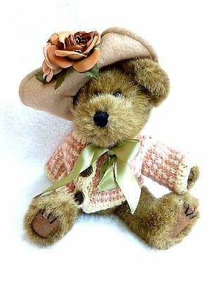 """10"""" Boyds Bears  brown bear with PINK sweater and flowered hat"""
