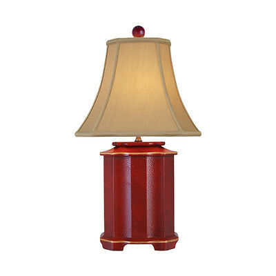 """Chinese Red Lacquer Wooden Pagoda Style Table Lamp 25"""""""