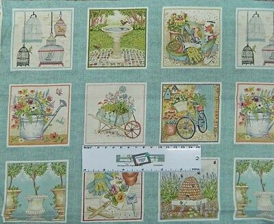 Country Patchwork Quilting Fabric ANTIQUE GARDEN Panel 30x110cm New Material