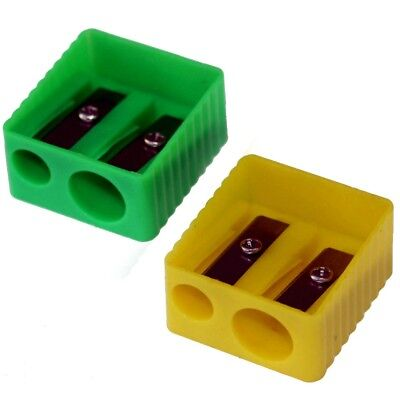 Taille-crayon x 2 maquillage cosmétique vert & jaune - 2 pencil sharpeners
