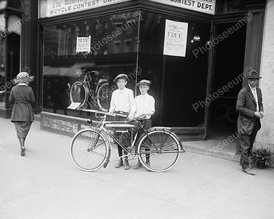 """Two Brothers And Their New Bike 1921   8"""" - 10"""" B&W Photo Reprint"""