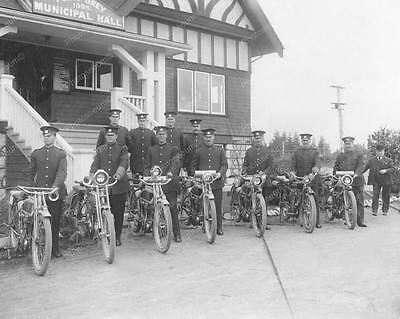 """Police Motorcycle Squad 1908   8"""" - 10"""" B&W Photo Reprint"""