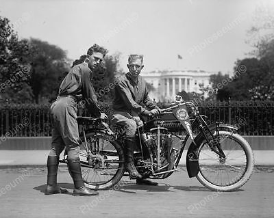 Young Men Pose Antique Motorcycle 1900s Old 8' -10 B&W Photo Reprint