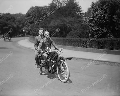 Young Men Ride Antique Motorcycle 1900s Old 8' -10 B&W Photo Reprint