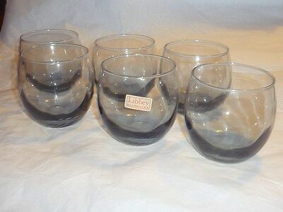 SET  6  Vintage 60s 70s LIBBEY OPTIC SWIRL SMOKY BLUE GLASS ROLY POLY GLASSES