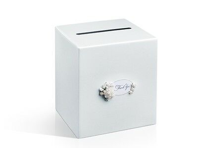 "IRPot - CARD BOX MATRIMONIO BIANCO PERLA FIORI ""THANK YOU"" PUDTM3EN BOX WEDDING"
