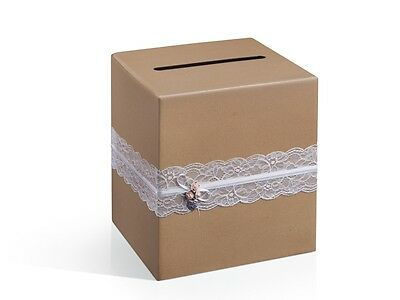 IRPot - SCATOLA CARD BOX MATRIMONIO IN CARTA KRAFT CON PIZZO PUDTM2 PORTABUSTE