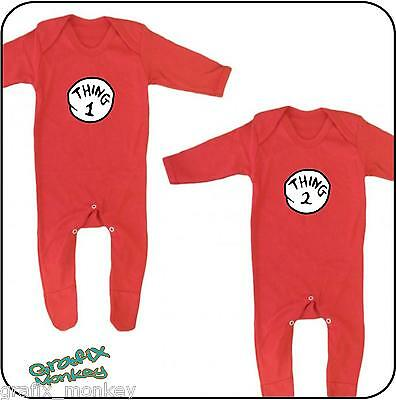 """Twin pack """"Thing 1"""" & """"Thing 2""""  Baby Romper suit  3 sizes"""