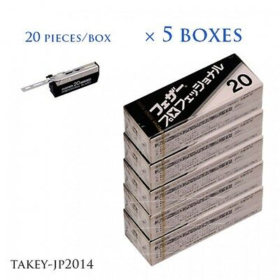 FEATHER Professional Blade PB-20 20 razor blades 5 boxes Japan F/S with Tracking