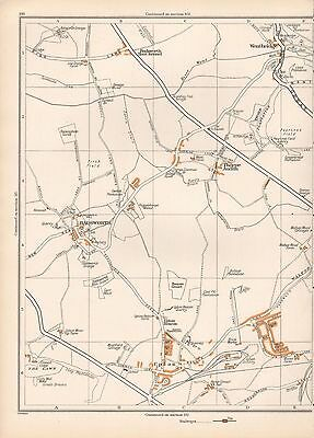 1938 Original Yorkshire Vintage Map Badsworth Wentbridge Upton Thorpe Audlin