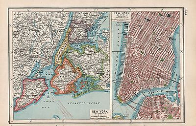 1920 Map -Post Ww1- New York, Greater & Central