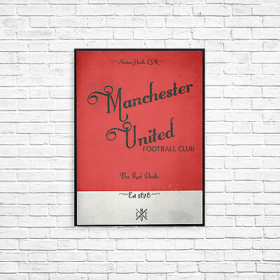 Manchester United FC A4 Picture Art Poster Retro Vintage Style Print MUFC