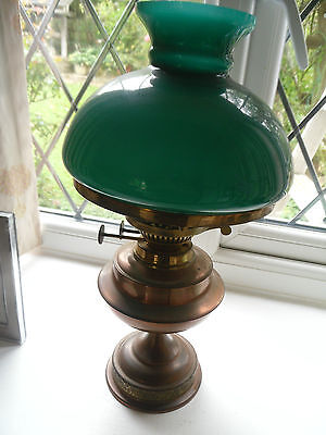 Vintage copper oil lamp Green shade  clear glass funnel