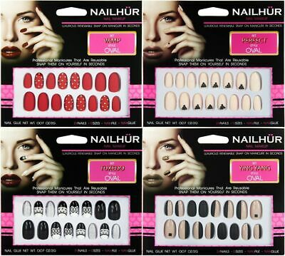 Nailhur Oval Designs #2 - Reusable Fake Press Glue On Nails Tips Red Tan Black