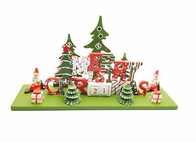Wooden Merry Christmas Advent Calendar Decoration Scene Count Down Perpetual