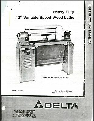 "Delta HD 12"" Variable Speed Wood Lathe Instructions Manual Parts List PDF"