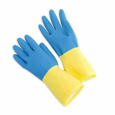 300 Pack Heavy Duty Blue & Yellow Rubber Gloves, Protective, Latex size L, XL