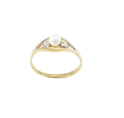 10k WOMEN'S SOLID YELLOW GOLD PEARL RING WITH DIAMONDS SIZE 6.25