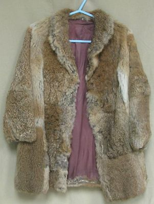 real fur vintage retro jacket coat child size 28 small brown coney girls