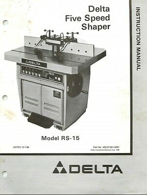 Delta RS-15 5 Speed Shaper Instructions Manual & Parts List PDF