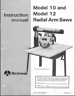 Delta 10, 12 Radial Arm Saw Instructions Manual & Parts List PDF