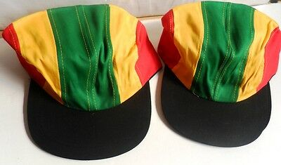 WHOLESALE  x 36 JOB LOT  RASTA COLOURS BASEBALL CAPS SUN HATS