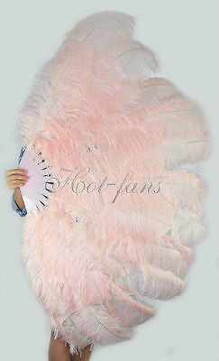 "Large 2 layers 34""x 60"" Blush Ostrich Feather fan Burlesque with gift box"