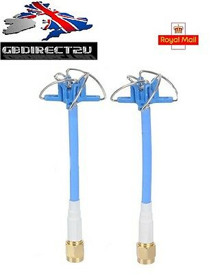 Aomway 5.8GHz FPV 4 Leaf Clover AV SMA or RP-SMA RHCP Antenna 1 Pair Blue/Red UK
