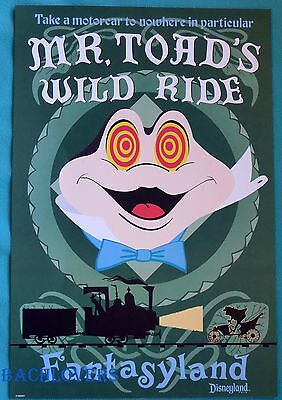 """Authentic Disneyland Mr. Toad's Wild Ride Attraction Poster 12 x 18"""""""