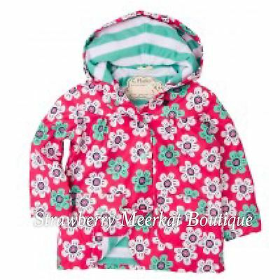 New Girls Hatley Pink Graphic Daisies Raincoat Mac Jacket Age 3 LAST ONE