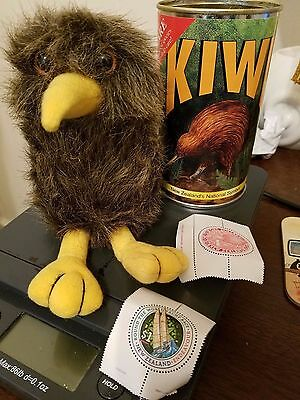 New Zealand Kiwi Bird plush with two stamps lot of 4 GUC kiwi bird, can, stamps