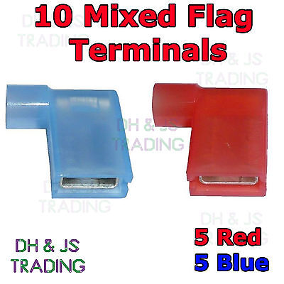 10 Mixed Flag Terminal Connectors Crimp On Right Angle Terminals Red & Blue 90°