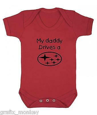 "Red Baby Vest. ""My Daddy Drives a Subaru""  in 4 Sizes 12 Logo Colours"