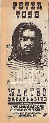 "1981 Peter Tosh 'Wanted Dread Or Alive"" Album  Print Advertisement"