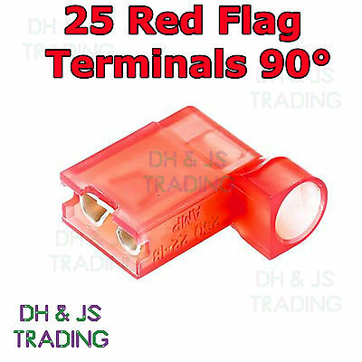 25 Red Flag Terminal Connectors Crimp On Right Angle Terminals Connector 90°