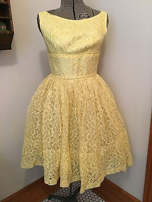 True Vtg 50's Yellow Lace Tulle Short Prom Party Wedding Bridal Dress & Jacket S