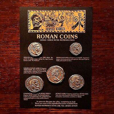 Set of 5 One-Sided Roman Coin Replicas - can be used as an Educational Resource!